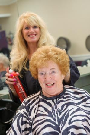 Older woman and her hairdresser